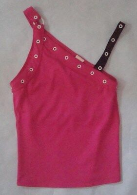 Hot Pink Black and White Dance Practice Competition Top Sz Child Medium 8 10