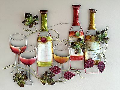 Wine Bottles Wall hanging Metal Art