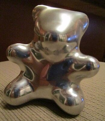 Hoselton Polished Aluminum Teddy Bear Sculpture Signed And  Numbered