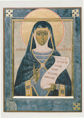 Julian Of Norwich Norfolk Painting Christian Old Scroll Parchment Greeting Card