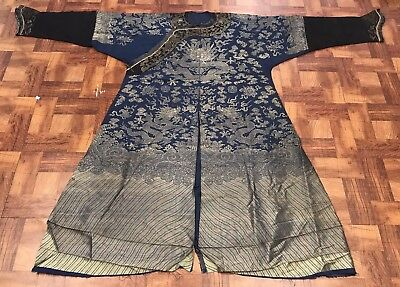 Wonderful Large Antique Chinese Silk Blue Dragon Robe With Fine Dragons