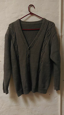 Mens hand knitted vintage wool blend cardigan medium