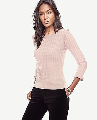 Ann Taylor silk cotton cable ruffle shoulder cuff knit sweater-sz XS M-pink-NWT
