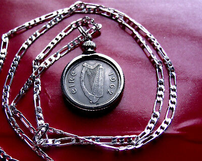 """1962 IRISH LUCKY RABBIT COIN PENDANT on a 28""""  925 STERLING SILVER Chain"""