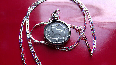 """1963 IRISH LUCKY RABBIT COIN PENDANT on a 24""""  925 STERLING SILVER LINK Chain"""