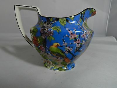 CROWN DUCAL Blue Chintz Exotic Bird  Creamer Black Rim
