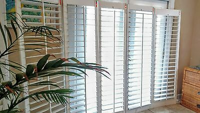"""New Large Interior Solid Wood Plantation Shutters 3 1/2 """" Louvers White"""