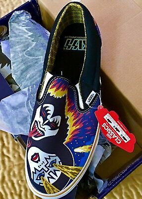 KISS - Rare ROCK AND ROLL OVER Vans Slip On Shoes SIZE 11