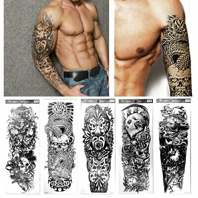 2139e8423 Fashion 5 Sheets Large Arm Fake Body Temporary Tattoos Art Stickers Cool  Pattern
