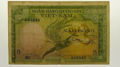 South Vietnam 1955 Five Dong Banknote in Very Good Condition
