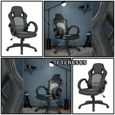 Chair PU Leather Swivel Seat High-Back Executive Racing Style Office Desk Gaming