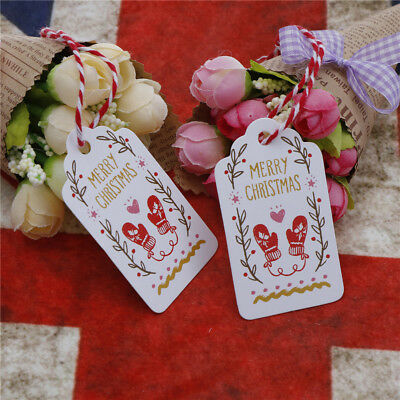 50pcs Merry Christmas Kraft Paper Gift Tags Label Hanging Cards With String GS