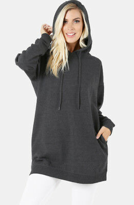 Long Hoodie Fleece Loose Tunic Top Womens Pullover Hooded Sweatshirt Oversized