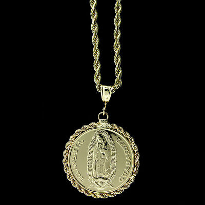 "14K Gold Plated San Judas/virgen Guadalupe Medallion Pendant W/24"" Rope Chain"