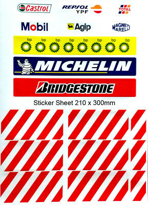 Slot car track stickers - from SCX Grandstand (1 x A4 size sheet)