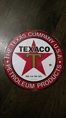 TEXACO PETROLEUM PRODUCTS Round Sign orginal porcelain  1930 now 20 % off !!!!!!