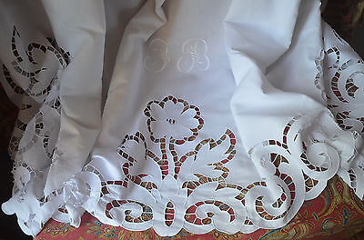 """antique hand embroidered JB monogrammed dowry sheet, 94"""" wide floral embroidery"""