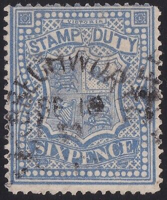 Stamps Australia - Victoria 6d Stamp Duty Blue - Used.
