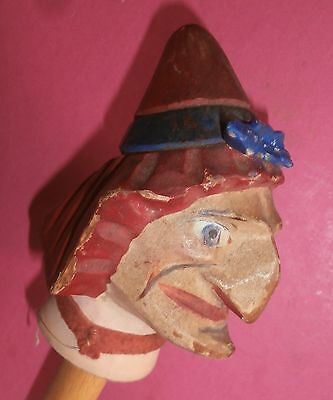 Victorian CHARACTER  Punch AND   Judy  ..JUDY   wood  carved  HEAD  puppet doll