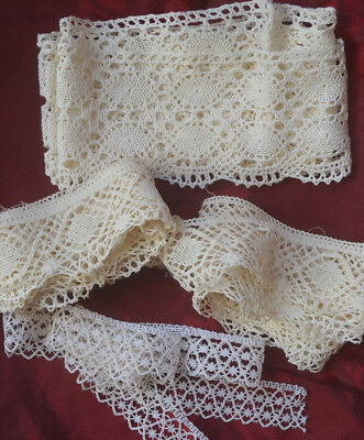 Antique French scalloped lace pieces x 6