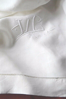 """Antique pure linen VC monogrammed and embroidered sheet, 93"""" wide, white work"""