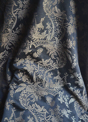 """Antique French 19th century woven silk damask Chinoiserie fabric, 50"""" wide"""