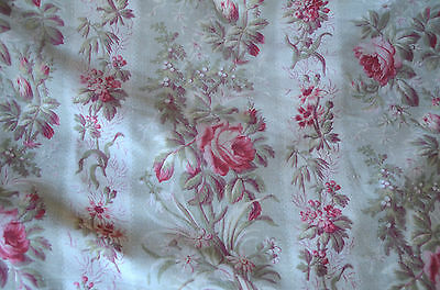 Antique French floral satin roses, greens and fuschia pinks over 2 yards