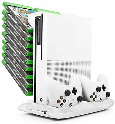 Xbox One S White Stand w/ Cooling Fan, Controller Charger, USB Ports and Game -