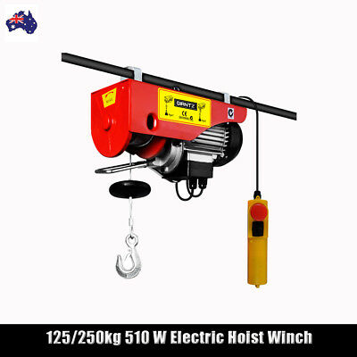 125/250kg 510 W  Electric Hoist Winch Cable Lift Tool 240V Single&Double Rope
