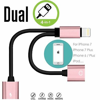 Dual Lightning Adapter Headphone Audio Cable Charger Splitter For iPhone7 7S