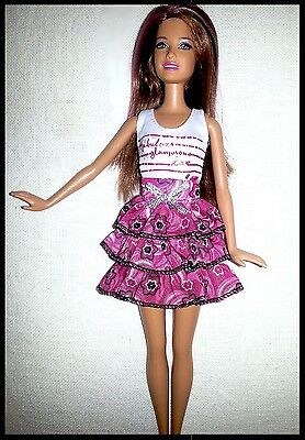 Barbie Doll Clothes - 2 Piece Set.  White top & Frilled Skirt.