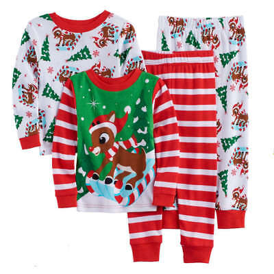 Rudolph Reindeer Christmas Toddler Boys Pajamas Size 2T 3T 4T New!