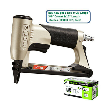 meite MT7116 22GA 3/8'' Crown Pneumatic Upholstery Stapler Air Power Stapler Gun