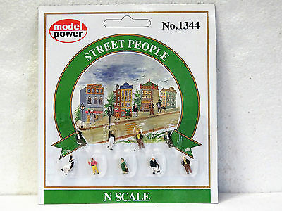 MODEL POWER #1344 N scale STREET PEOPLE 9 pieces hand painted New on card