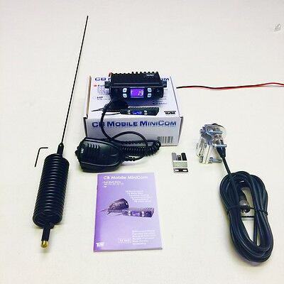 Team CB Radio Mobile Mini Com Starter Kit+Mini Stinger Antenna & 4 Bolt Bar Kit