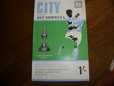 MANCHESTER CITY v WEST BROMWICH ALBION - CHARITY SHIELD 1968 FINE CONDITION