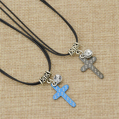 Stainless Steel Cross Pendant Necklace Leather Strap Adjustable Couples Jewelry