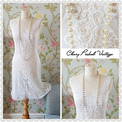 Vintage Slinky Sheer Lace White Peignoir Baby Doll Night Dress Gown Madmen UK 10