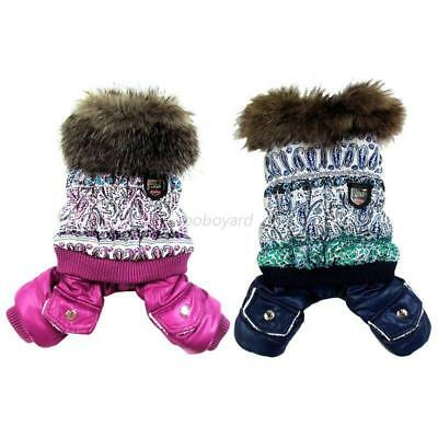 USA Small Dog Pet Winter Warm Coat Jacket Puppy Jumpsuit Hooded Snowman Clothes