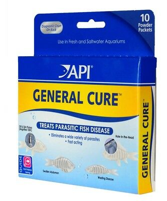 API General Cure Powder 10 count | For Freshwater and Saltwater Fish Aquariums