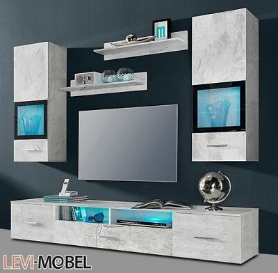 wohnwand 3 tlg anbauwand wohnzimmer beton optik grau matt. Black Bedroom Furniture Sets. Home Design Ideas