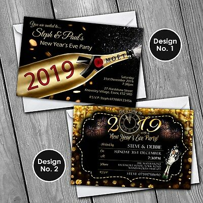 New Years Eve Invitations Personalised Party Invites 2019