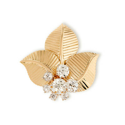 Cartier 18K Yellow Gold Diamond Vintage Leaf Brooch - Com1173