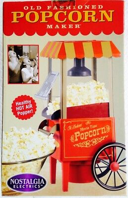 NEW Nostalgia Electrics Old Fashioned Tabletop Cart Hot Air Popcorn Maker Red