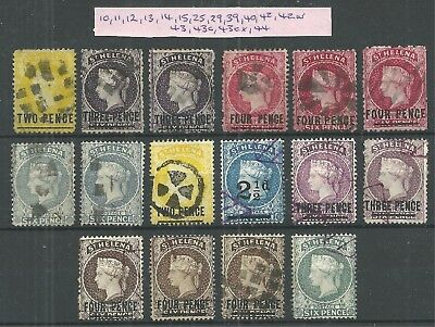QV St Helena collection of 16 stamps with Cat No's - Good Used - Cat £600