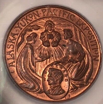 1909 Alaska Yukon Pacific Expo HK-355 Copper Official Medal ICG MS64 RB