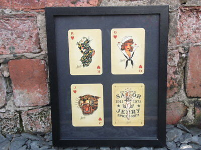Sailor Jerry Framed Spiced Rum Playing Cards Hearts Tattoo Studio Vintage Flash