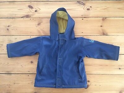 Jojo Maman Bebe boys blue raincoat  with yellow lining 18-24 months