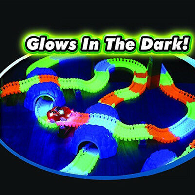 220 Pieces Kids Children Flexible Glow In The Dark Car Race Track Set LED Light