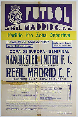 1957 Real Madrid Vs Manchester United Poster, Letter, Programme Bundle. Man Utd